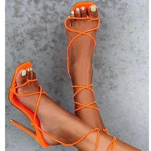 Orange Lace up heel